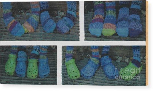 Socks And Crocs Wood Print