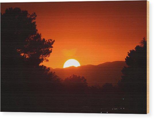 Sol Wood Print by Alberto Sanchez