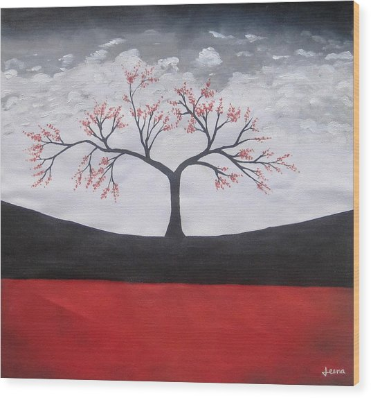 Solitary Tree-oil Painting Wood Print by Rejeena Niaz