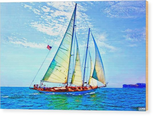 Solo Sailing Wood Print