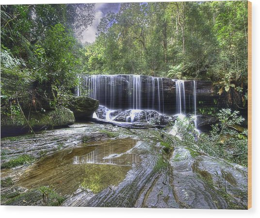 Somersby Falls Wood Print by Barry Culling