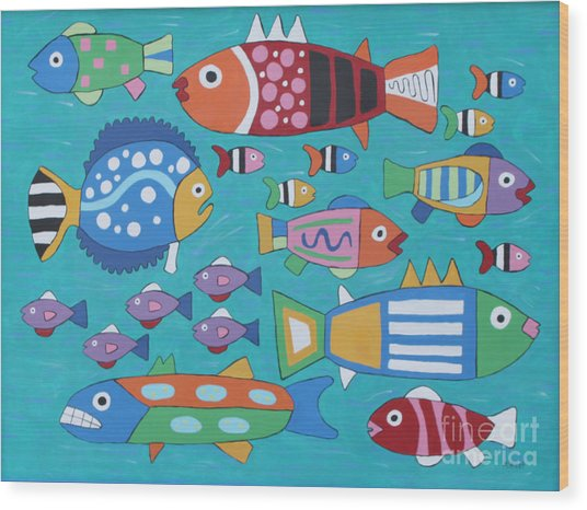 Something's Fishy Wood Print by Marilyn West