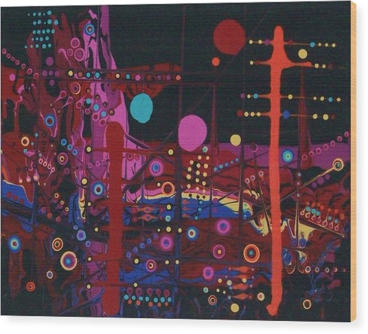 Sometimes I Even Dream In Neon Wood Print by Charlotte Nunn