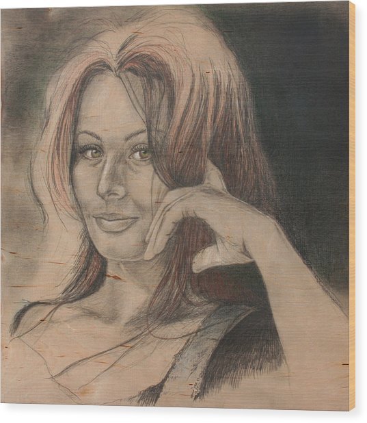 Sophia Wood Print by Canis Canon