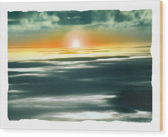 South Pacific Sunset Wood Print by Noah Brooks