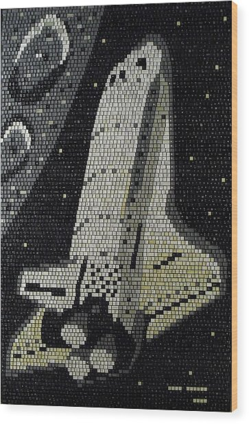 Space Shuttle Final Mission Wood Print