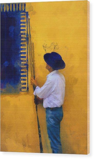 Spanish Man At The Yellow Wall. Impressionism Wood Print