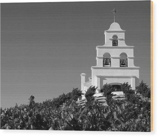 Spanish Mission In The Vineyards II Wood Print