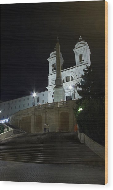 Spanish Steps At Night Wood Print