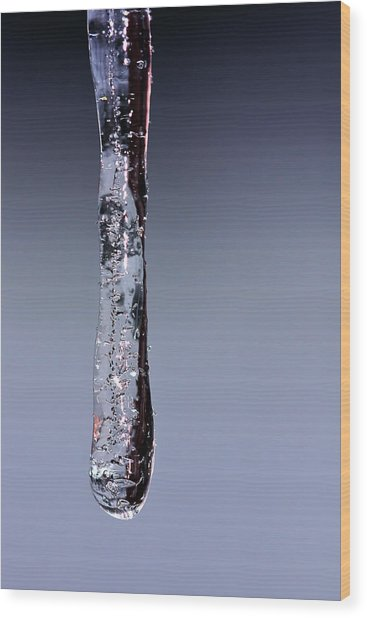 Sparkling Icicle - Frozen Water Drop Wood Print