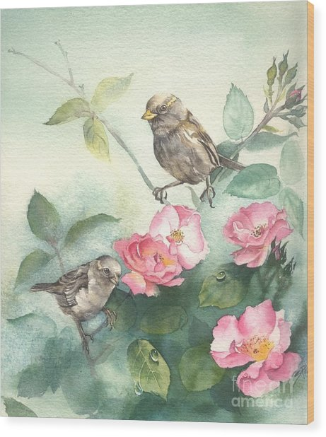 Sparrows And Dog Rose Wood Print