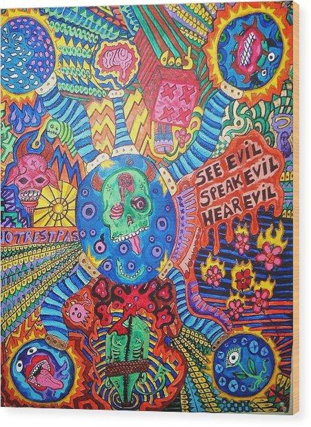 Speak No Evil Wood Print by Ragdoll Washburn