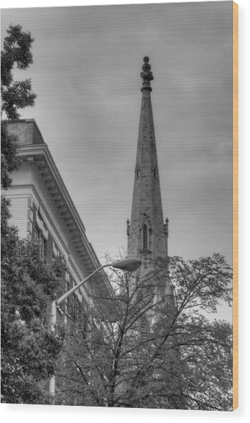 Spire From Trees Wood Print