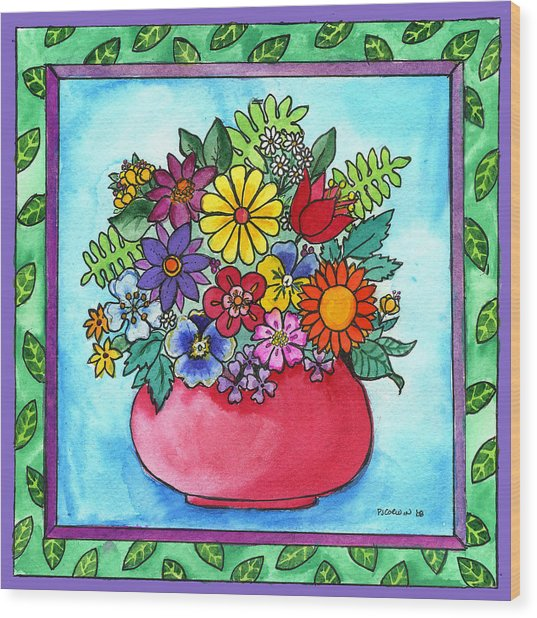 Spring Bouquet Wood Print by Pamela  Corwin