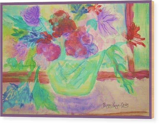 Vibrant Flowers In Pot Wood Print by Peggy Leyva Conley