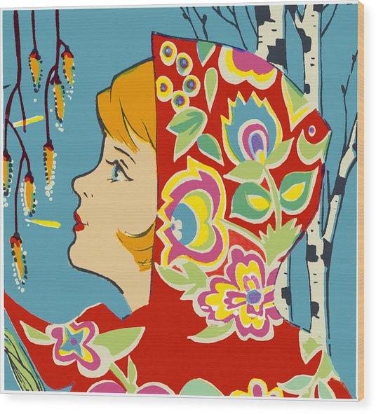 Spring Girl Poster Wood Print