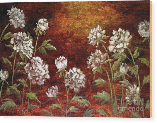 Spring Peonies Wood Print