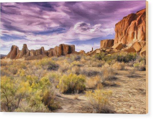 Spring Rain At Chaco Canyon Wood Print