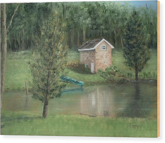Springhouse Reflection Wood Print