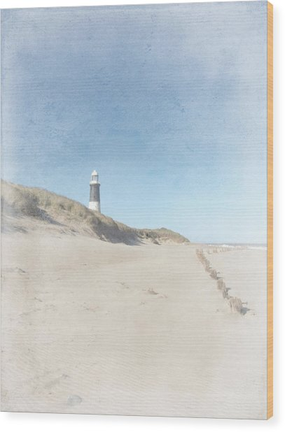 Spurn Point Lighthouse Texture Wood Print