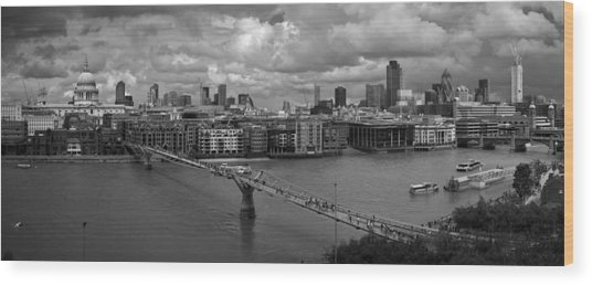 St Paul's And The City Panorama Bw Wood Print