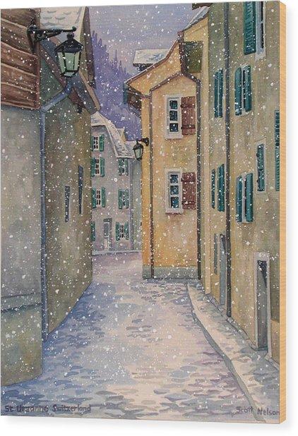 St Ursanne In Snow Wood Print
