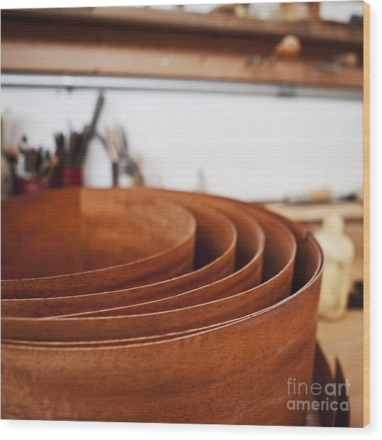 Stack Of Wooden Bowls Wood Print by Jetta Productions, Inc
