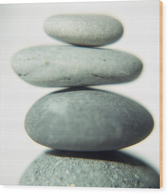 Stacked Pebbles Wood Print by Cristina Pedrazzini