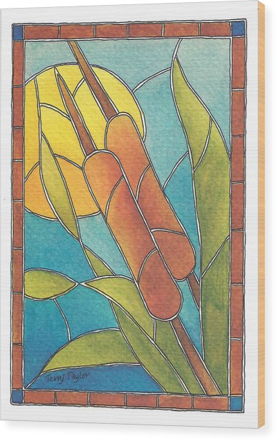 Stained Glass Cattails Wood Print