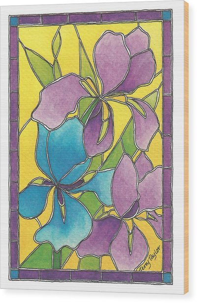Stained Glass Iris Wood Print