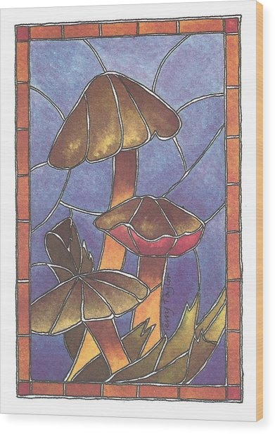 Stained Glass Mushrooms Wood Print