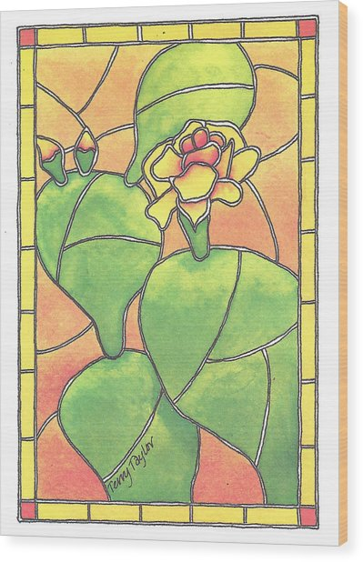Stained Glass Prickly Pear Wood Print