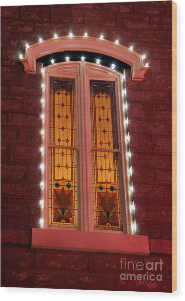 Stained Glass Window At Night Wood Print