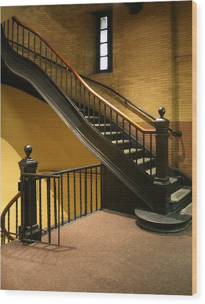 Staircase In The Boston Armory Wood Print