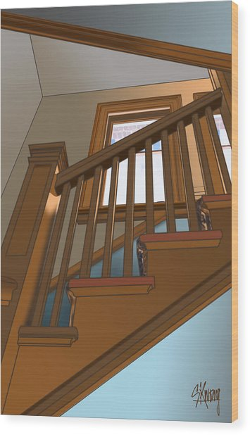 Stairway To 2nd Floor Wood Print