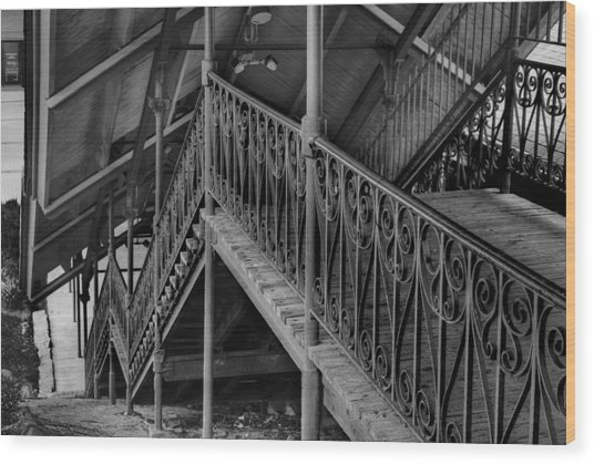 Stairway To Trains Wood Print