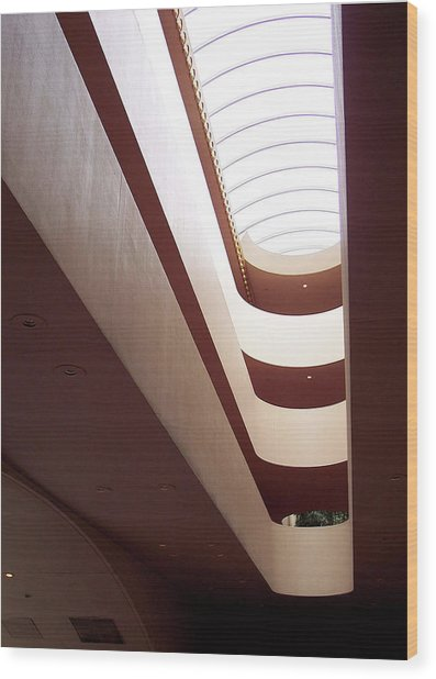 Stairwell At The Marin Civic Wood Print