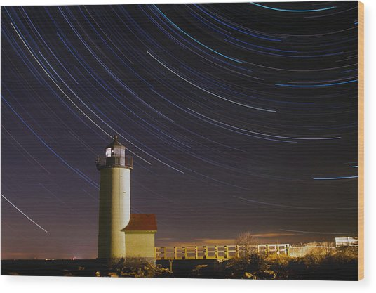 Star-trails Over Annisquam Lighthouse Wood Print