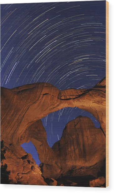 Star Trails Over Double Arch Wood Print