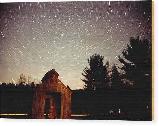 Star Trails Over Sugar Shack Wood Print