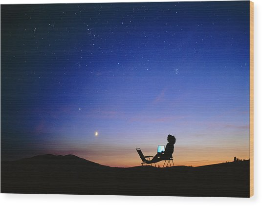Starry Sky And Stargazer Wood Print by David Nunuk