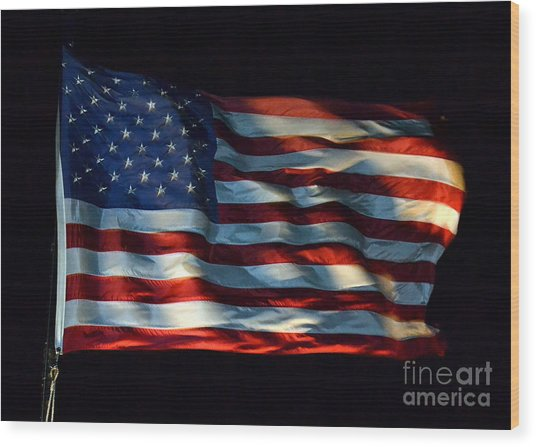 Stars And Stripes At Night Wood Print
