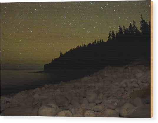 Stars Over Otter Cliffs Wood Print