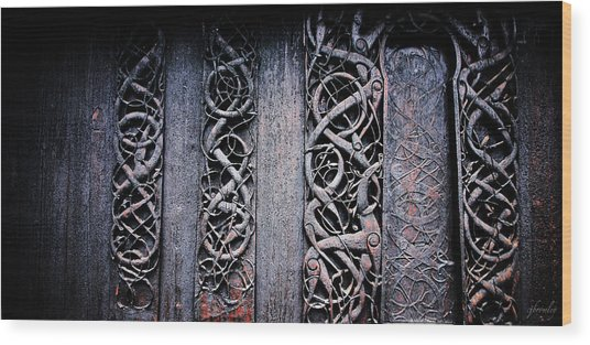 Stave Carving Wood Print by Chad Bromley