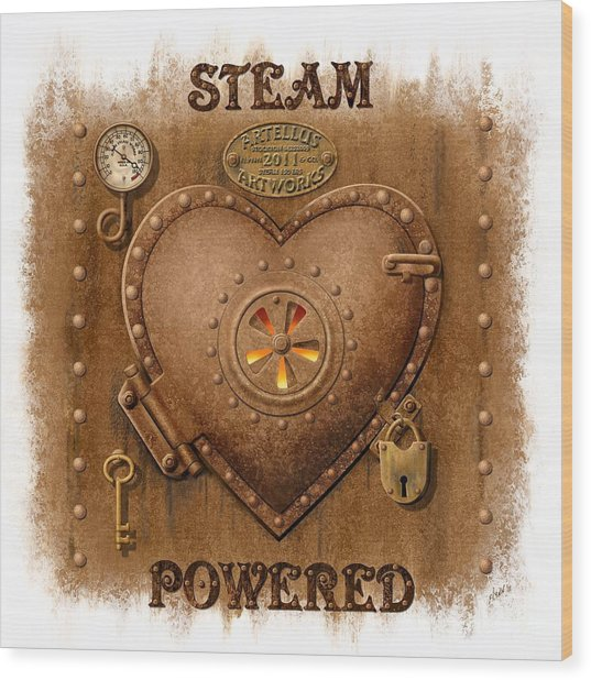 Steam Powered Heart Wood Print