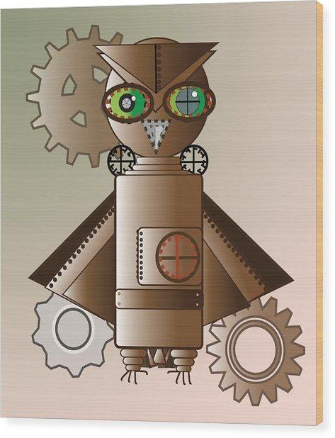 Steam Punk Robot Owl Wood Print