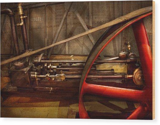 Steampunk - Machine - The Wheel Works Wood Print by Mike Savad