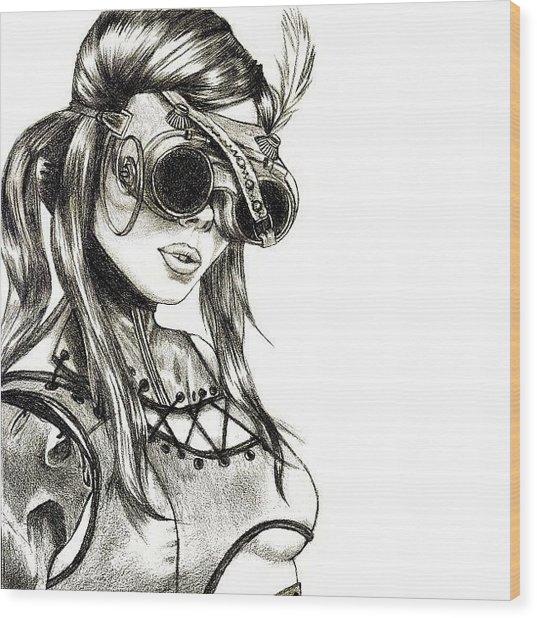 Steampunk Girl 1 Wood Print