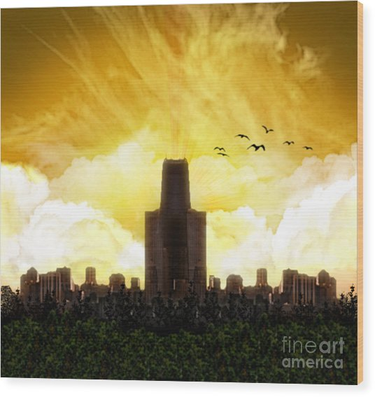 Steel City Dawn Wood Print
