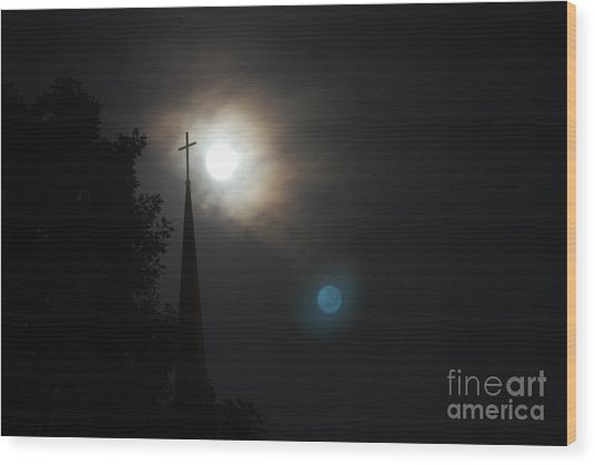 Steeple And Two Moons Wood Print